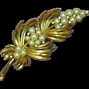 Crown Trifari  Imitation Pearls and Rhinestones Rare Pin Brooch
