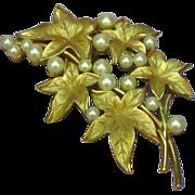 SOLD Crown Trifari Gold-tone Imitation Pearls  Rare Pin Brooch