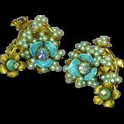 Enamel Baby Blue Floral Rhinestones Faux Seed Pearl Clip Earrings