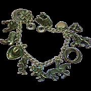 Vintage Sterling Silver Western Cowboy Ranch Theme Charm Bracelet
