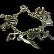 Vintage Sterling Silver Western Cowboy Mexico Theme Charm Bracelet