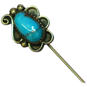 Vintage Southwest Native American Indian Sterling Silver & Turquoise Stick Pin