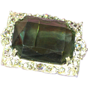 Rhinestones Enchanting Large Smoke Stone Vitrial Silver Tone Pin Pendant