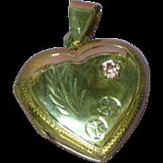 Vintage Sterling Large Heart Locket Chased Design Pink Sapphire Stone Pendant