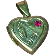 Vintage Sterling Large Heart Locket Chased Design Red Ruby Stone Pendant