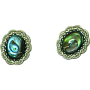 Alaska Sterling Silver and Abalone Pierced Stud Earrings MIB