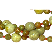 Fossilized Coral, Flower Jasper and Red Coral Necklace