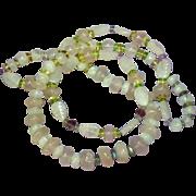 "SALE Gemstones Carved Rose Quartz Labradorite Citrine Peridot Amethyst Beads 26"" Necklace"