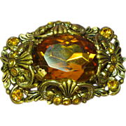 Vintage West Germany Marked Circa-1930-40's Brass Glass Amber Pin Brooch