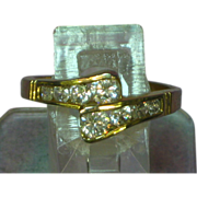 SALE Cubic Zirconia CZ Gold Plated Gorgeous By Pass Size 11 Ring