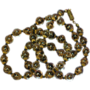 Vintage Murano Italian Venetian Glass Sommerso Black and Gold Bead Estate  Necklace