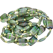 "1930's Blue Pink Green Art Glass Swirled Beads Long 50"" Flapper Necklace"
