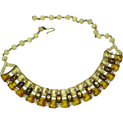 West Germany Clean and Exquisite Givre Opalescent ALL GLASS Beaded Necklace