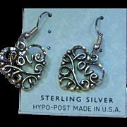 Vintage Sterling Silver  Heart Love Filigree Dangle Pierced Earrings
