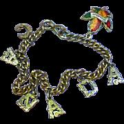 Canada Charm Bracelet Gold Tone with Enamel Charm Maple Leaf