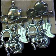 Sterling Silver Cowboy Horseshoe Boot Bucking Horse Western Charm Dangle Pierced Earrings