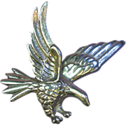 Eagle Figural Large Heavy Cast Sterling  Silver Pin / Brooch