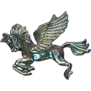 Pegasus Sterling Silver Winged Flying Horse Figural Pin Brooch