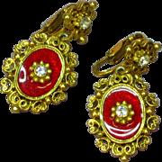 SALE PENDING Florenza Red Enamel Rhinestones Clip Earrings