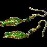 Enamel Green Gold Plate Articulated Dangle Koi Carp Fish Earrings