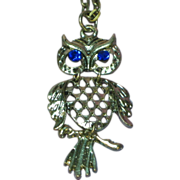 """Articulated Owl Silver- tone on 28"""" Chain Necklace"""