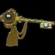 Coro Pegasus Marked Rhinestones Cameo Tassel Key Pin  Brooch