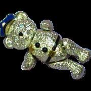 Napier Vintage Articulated Police Teddy Bear Pin Brooch
