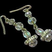 Elegant Vintage Elongated Long Dangle Rhinestone Crystal Pierced Earrings