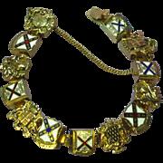 Enamel Crest Coat of Arms Shields Link Bracelet