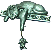 J.J. Pewter Cat & Mouse Figural Pin Brooch