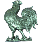 J.J. Signed Pewter Finish Rooster Barnyard Figural Brooch Pin