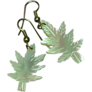 Mother of Pearl Hand Carved Leaves Pierced Earrings