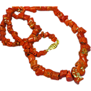 """Coral Single Strand Museum Quality Coral with Ornate Clasp 18"""" Necklace"""