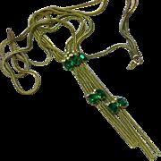 Rhinestones Multi Chain Bolo Lariat Necklace