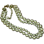 Miriam Haskell Signed Double Strand Baroque Niki Simulated Pearls  ca. 1950's Necklace