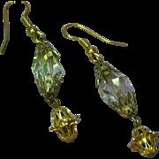 Crystal Fancy Cut  Gold Filigree Drop Dangle Pierced Earrings