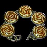 SALE Confetti Lucite Shell Sterling Silver Toggle Bracelet
