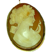 Antique 14K Yellow Gold Carved Conch Shell Cameo Brooch Pin Pendant