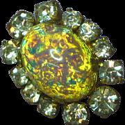 Rhinestones Art Glass  Brooch Pin Pendant