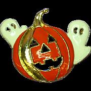 Enamel Fall Halloween Pumpkin Ghosts Pin Brooch