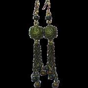 Mixed Metal Balinese Long Dangle Pierced Earrings