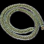Les Bernard Designer Signed Rhinestones Rope Silver Plate Necklace