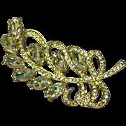 Rhinestones Gold Tone Swirl Leaf Design Pin Brooch