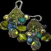Mixed Metal Art Glass Long Dangle Pierced Earrings