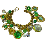 SALE Large Green Yellow Glass Crystal Charm Goldtone Dangling Charms Bracelet