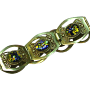 Signed Sterling Mexico Mexican Art Glass Opal Cabochon Seven Panel Bracelet