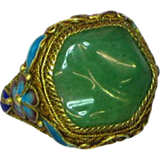 SOLD Superb Quality Antique Chinese Jade Cabochon Gold Wash 900 Silver & Enamel Ring