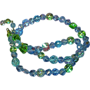 Czech Clean and Exquisite Blue Green all GLASS Beaded Necklace