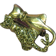 SALE Deco Sterling Silver Marcasite Two Lovers Cat Pin Brooch