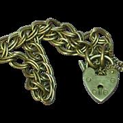 English Hallmarked Heart Lock Sterling Charm Double Link Bracelet